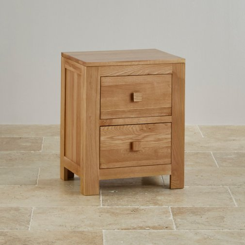 Oakdale Natural Solid Oak 2 Drawer Bedside Table