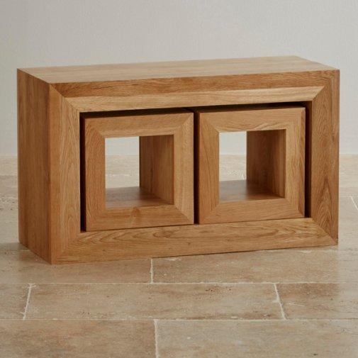 Oakdale Natural Solid Oak 3 Cube Nest of Tables