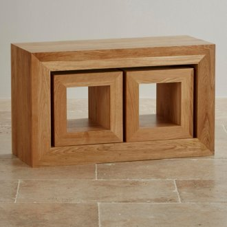 Oakdale Natural Solid Oak 3 Cube Nest of Tables