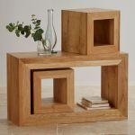 Oakdale Natural Solid Oak 3 Cube Nest of Tables - Thumbnail 3