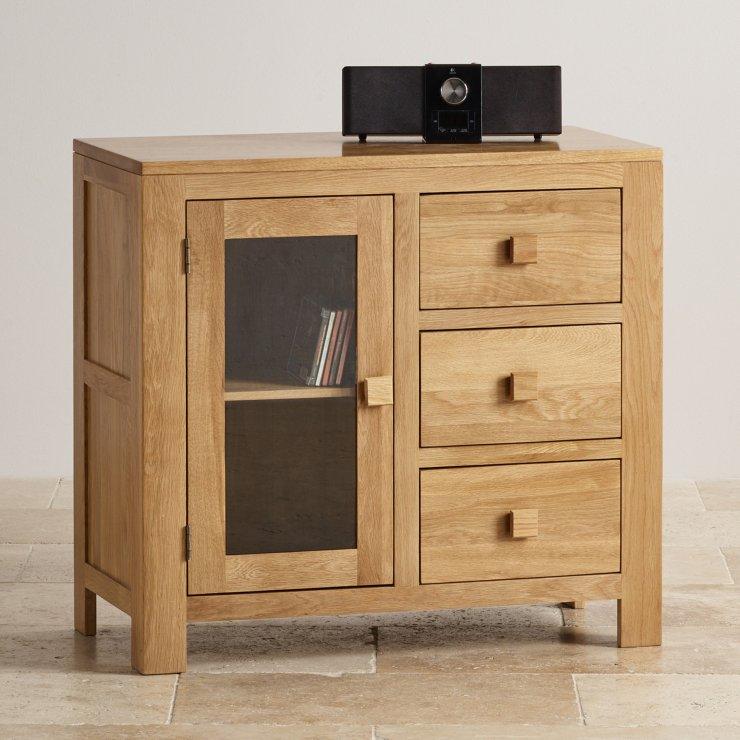 Oakdale Natural Solid Oak 3 Drawer Glazed Media Cabinet
