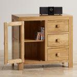Oakdale Natural Solid Oak 3 Drawer Glazed Media Cabinet - Thumbnail 4