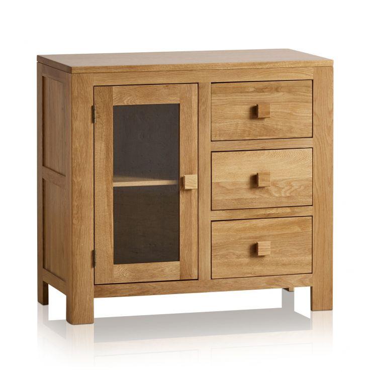 Oakdale Natural Solid Oak 3 Drawer Glazed Media Cabinet - Image 5