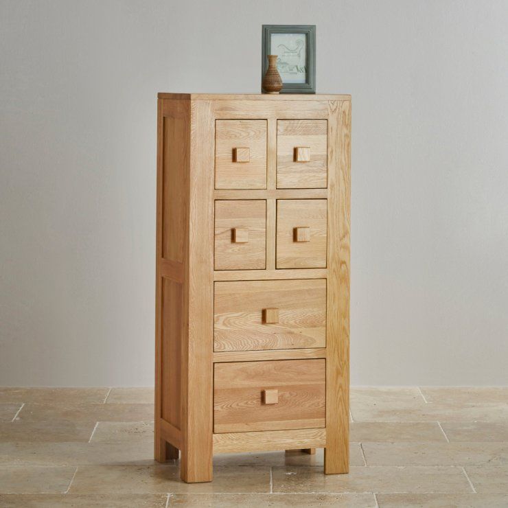 Oakdale Natural Solid Oak 4ft Tall CD Storage