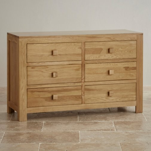 Oakdale Natural Solid Oak 6 Drawer Chest