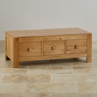 Oakdale Natural Solid Oak 6 Drawer Storage Coffee Table