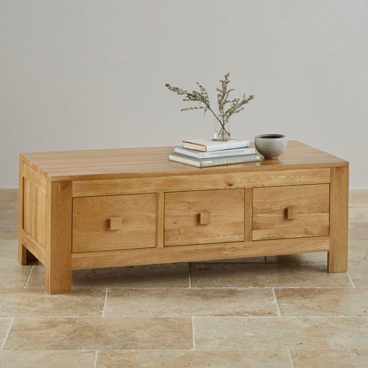 Oakdale Natural Solid Oak 6 Drawer Storage Coffee Table