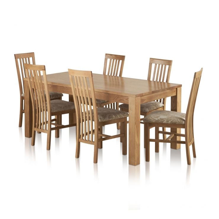 Oakdale Natural Solid Oak 6ft Table + 6 Slat Back Fabric Dining Chairs