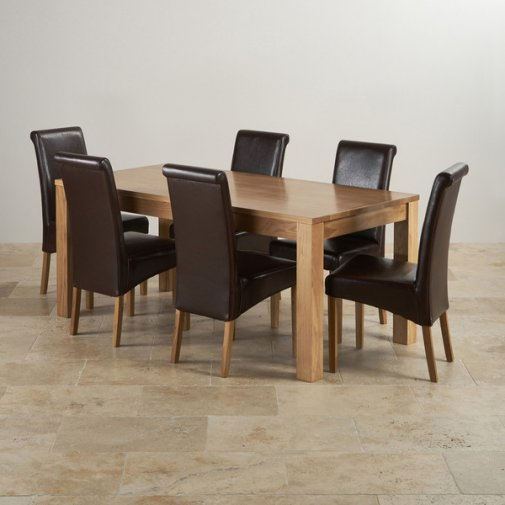 Oakdale Natural Solid Oak 6ft x 3ft Dining Table + 6 Scroll Back Leather Chairs
