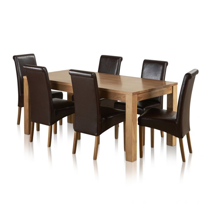 Oakdale Natural Solid Oak 6ft x 3ft Dining Table + 6 Scroll Back Leather Chairs - Image 6