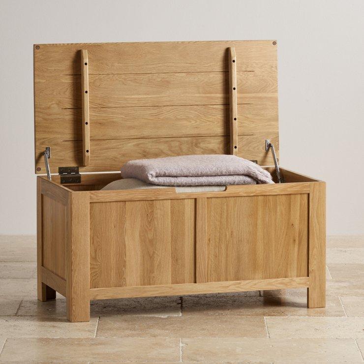 Oakdale Natural Solid Oak Blanket Box