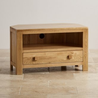 Oakdale Natural Solid Oak Corner TV Cabinet