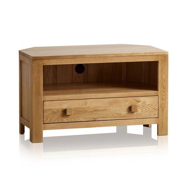 Oakdale Natural Solid Oak Corner TV Cabinet