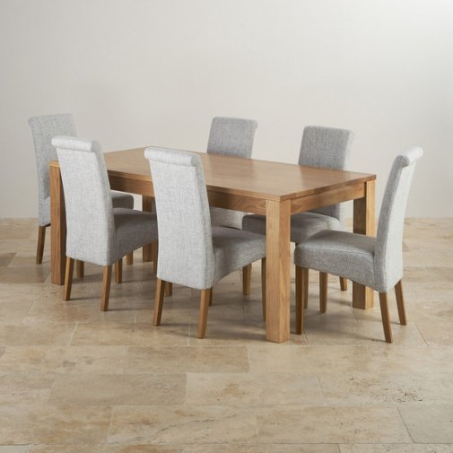 Oakdale Natural Solid Oak Dining Set - 6ft Table with 6 Scroll Back Plain Grey Fabric Chairs