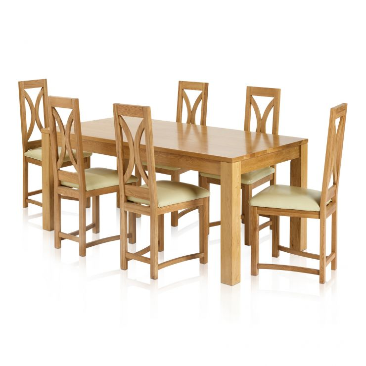 Oakdale Natural Solid Oak Dining Set - 6ft x 3ft Dining Table with 6 Loop Back and Cream Leather Dining Chairs - Image 5