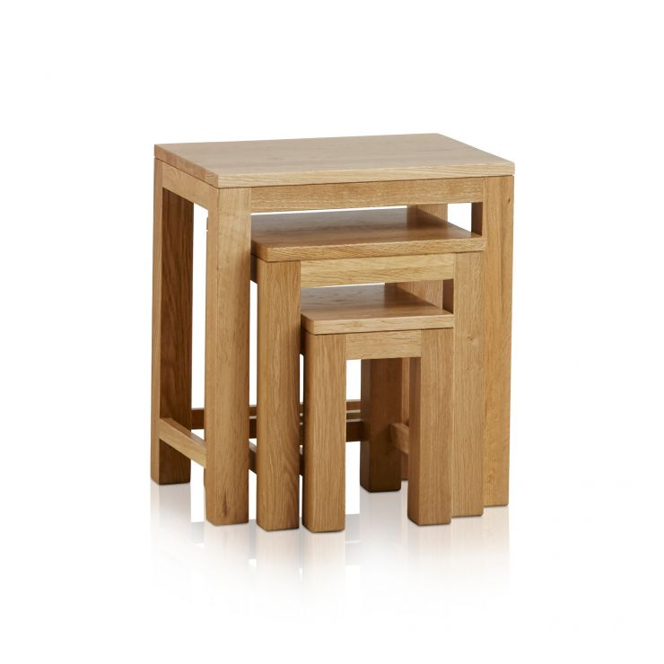Oakdale Natural Solid Oak Nest of Tables - Image 1