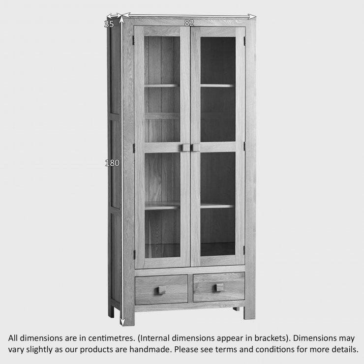 Oakdale Natural Solid Oak Tall Glazed Display Cabinet