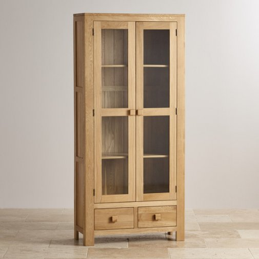Oakdale Natural Solid Oak Tall Glazed Display Cabinet