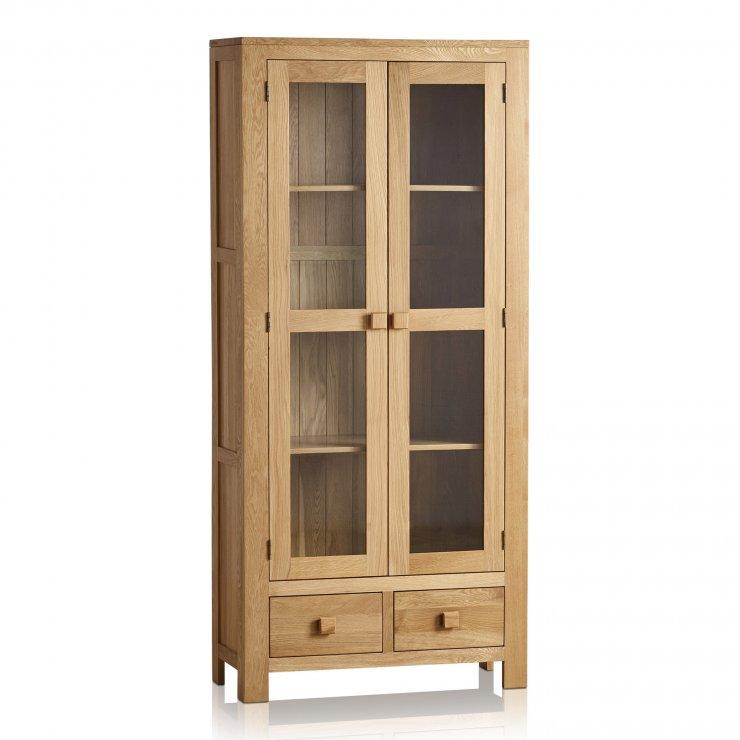 Oakdale Natural Solid Oak Tall Glazed Display Cabinet - Image 4