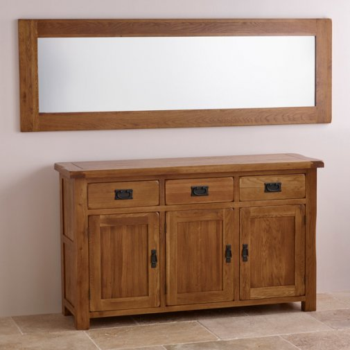 Original Rustic Solid Oak 1800mm x 600mm Wall Mirror