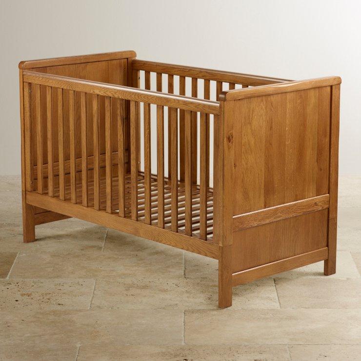 Original Rustic Solid Oak 3 in 1 Cot Bed