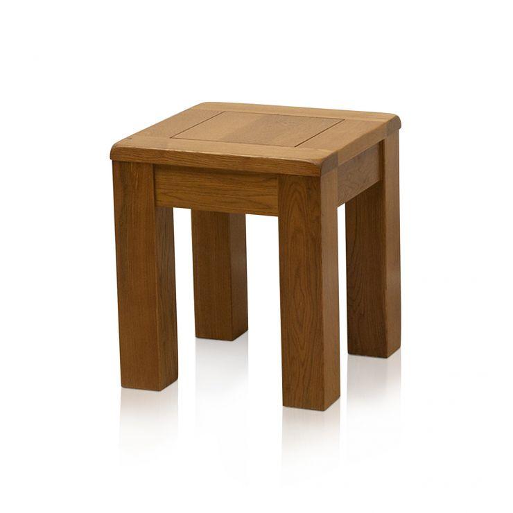 Original Rustic Solid Oak Square Stool - Image 3