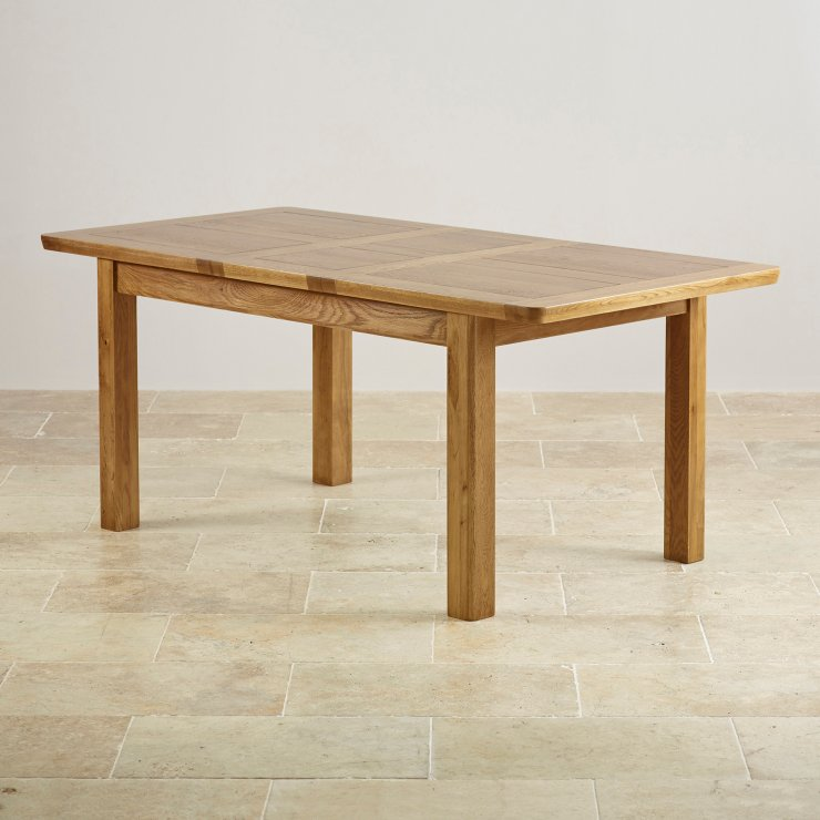 """Orrick 4ft 7"""" x 3ft Rustic Solid Oak Extending Dining Table +6 Wave Back Striped Fabric Chairs"""