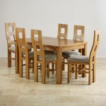 """Orrick 4ft 7"""" x 3ft Rustic Solid Oak Extending Dining Table +6 Wave Back Striped Fabric Chairs - Thumbnail 3"""