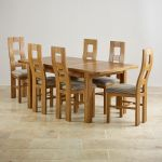 "Orrick 4ft 7"" x 3ft Rustic Solid Oak Extending Dining Table +6 Wave Back Striped Fabric Chairs - Thumbnail 2"