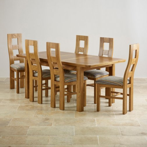 "Orrick 4ft 7"" x 3ft Rustic Solid Oak Extending Dining Table +6 Wave Back Striped Fabric Chairs"