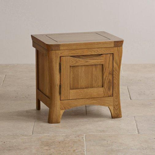 Orrick Rustic Solid Oak 1 Door Bedside Cabinet
