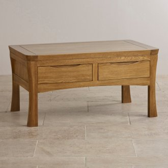 Orrick Rustic Solid Oak 4 Drawer Storage Coffee Table