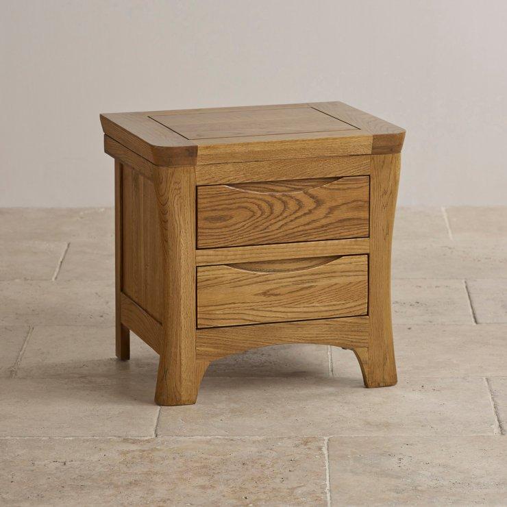 Orrick Rustic Solid Oak 2 Drawer Bedside Table