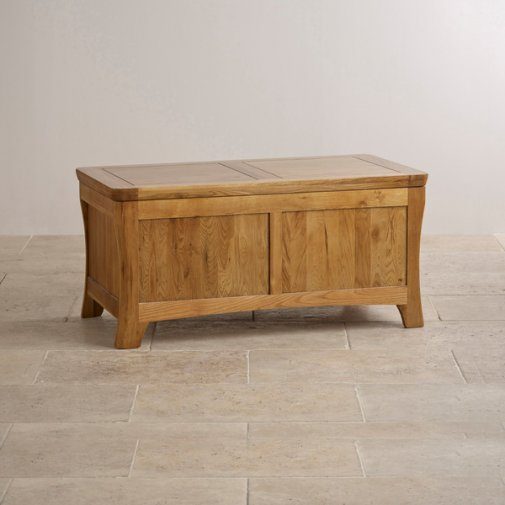 Orrick Rustic Solid Oak Blanket Box