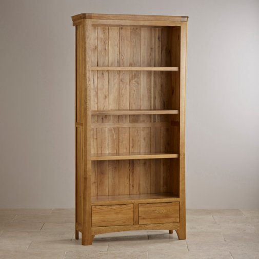 Orrick Rustic Solid Oak Tall Bookcase