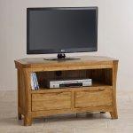 Orrick Rustic Solid Oak Corner TV Cabinet - Thumbnail 4