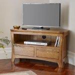 Orrick Rustic Solid Oak Corner TV Cabinet - Thumbnail 3