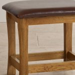 Orrick Rustic Solid Oak and Leather Dressing Table Stool - Thumbnail 2