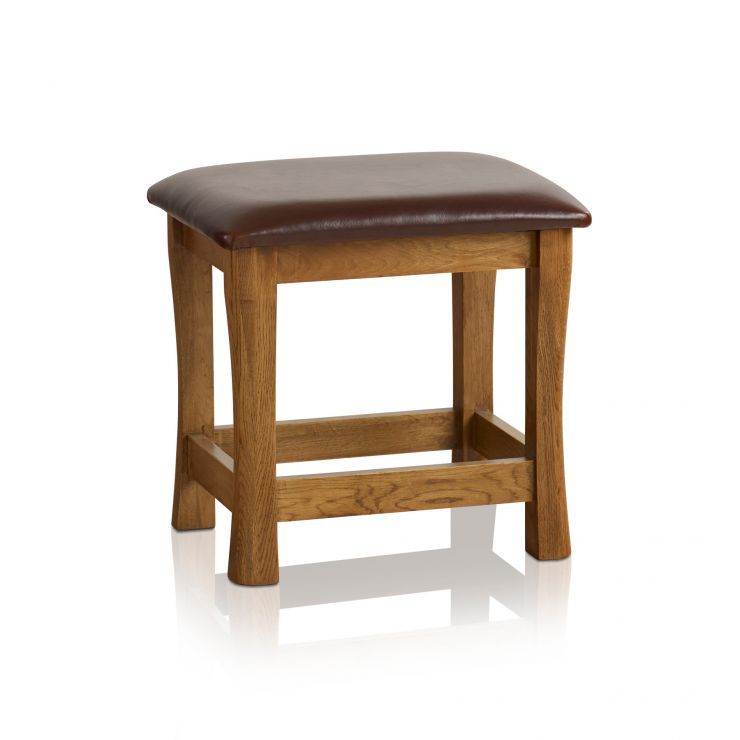 Orrick Rustic Solid Oak and Leather Dressing Table Stool - Image 4