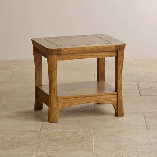 Orrick Rustic Solid Oak Lamp Table