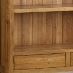 Orrick Rustic Solid Oak Wide Bookcase - Thumbnail 3