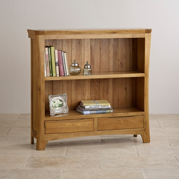 Orrick Rustic Solid Oak Wide Bookcase