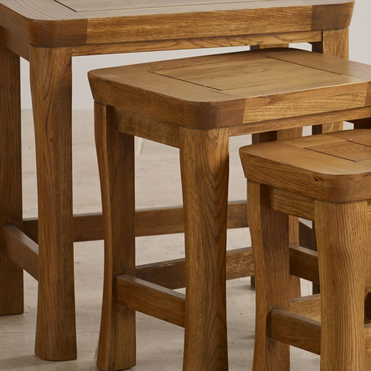 Orrick Rustic Solid Oak Nest of Tables
