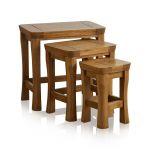 Orrick Rustic Solid Oak Nest of Tables - Thumbnail 1