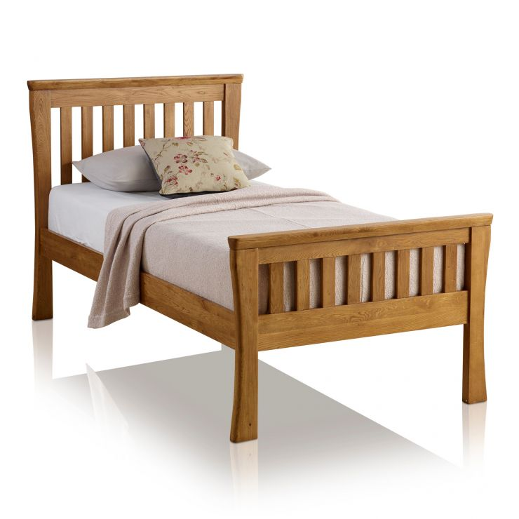 Orrick Rustic Solid Oak Single Bed - Image 1