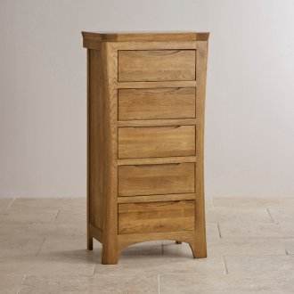 Orrick Rustic Solid Oak 5 Drawer Tallboy