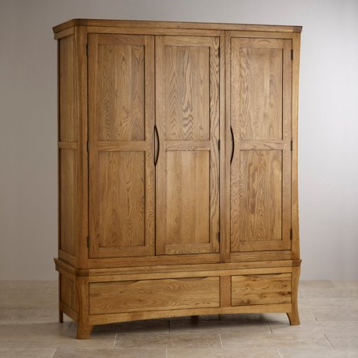 Orrick Rustic Solid Oak Triple Wardrobe
