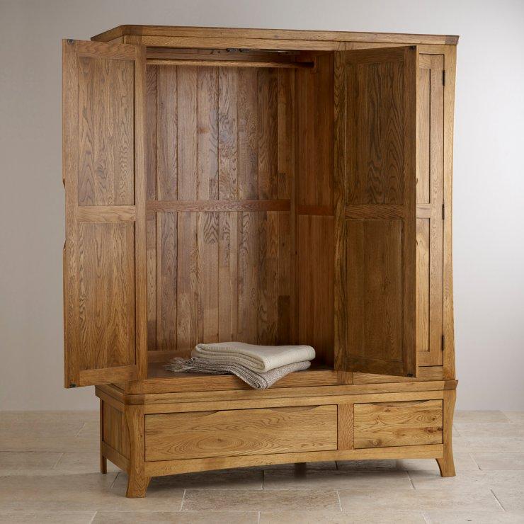 Orrick Rustic Solid Oak Triple Wardrobe