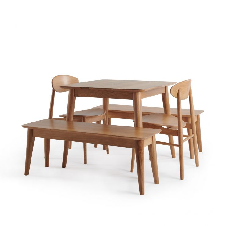 Oscar Natural Solid Oak 4 Seater Table with 2 Oscar Benches and 2 Oscar Dining Chairs
