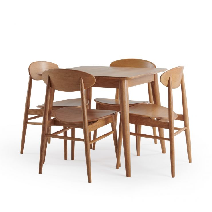 Oscar Natural Solid Oak 4 Seater Table with 4 Oscar Chairs